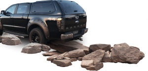 Ranger on rocks background