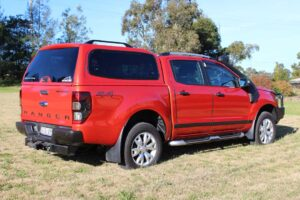 smm canopy fitted to a chilli orange ford ranger dual cab ute