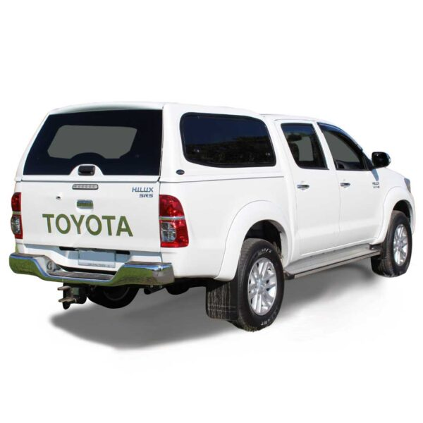 razorback smm steel canopy fitted to a toyota hilux dual cab
