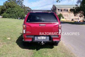 razorback fibreglass canopy on red dmax